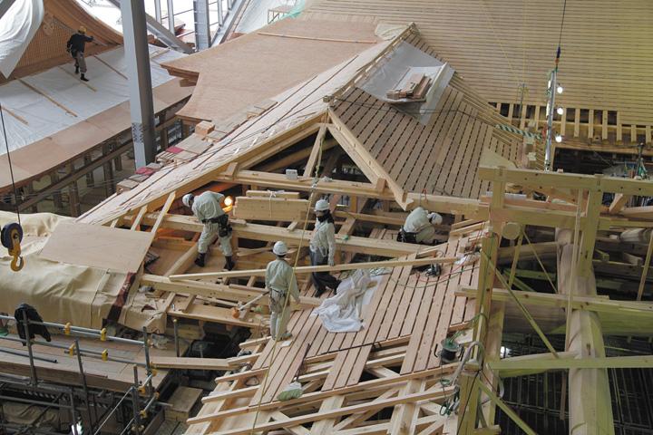 溜之間の屋根工事