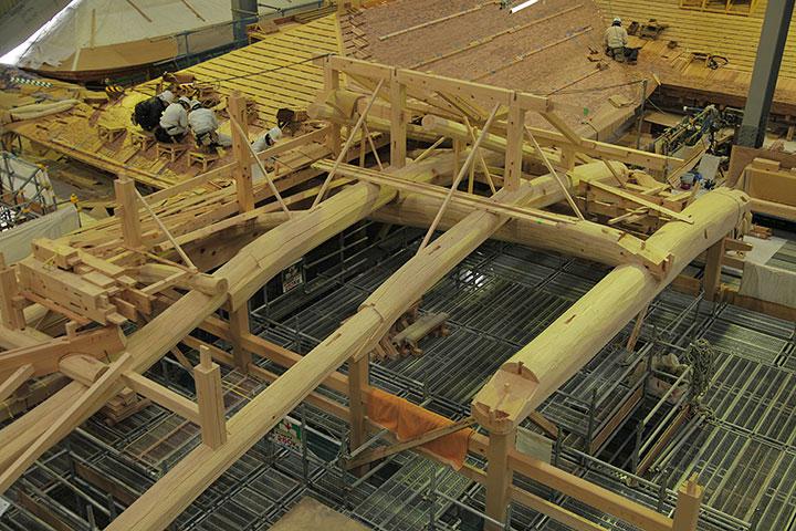 下御膳所の屋根組