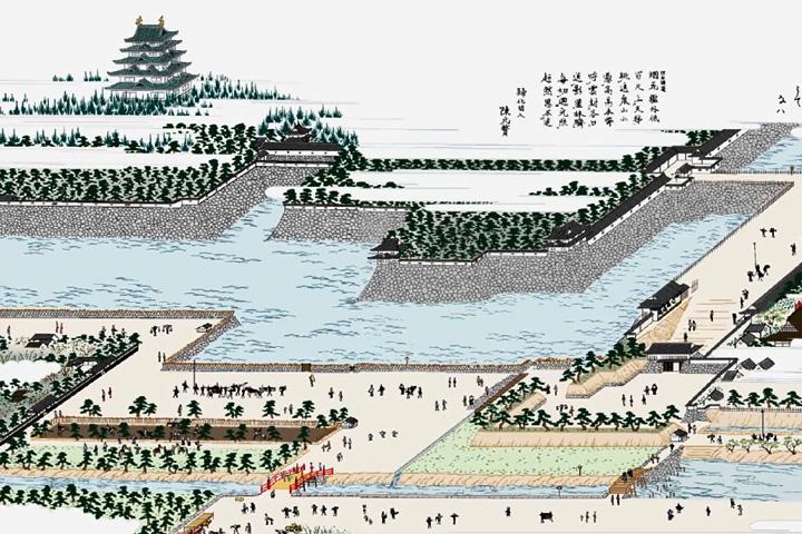 名古屋城(尾張名所図会イメージ着色)
