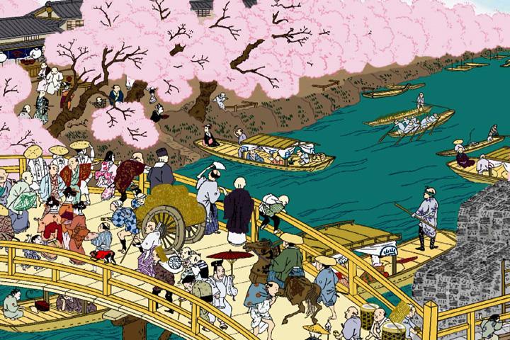 堀川日置橋満開の桜(尾張名所図会イメージ着色)