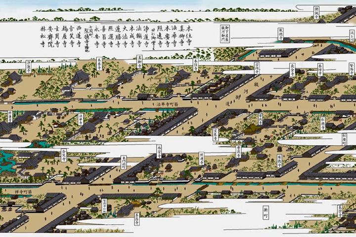 駿河街道と東寺町(尾張名所図会イメージ着色)