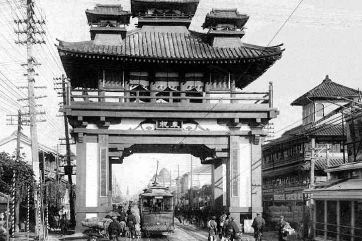 昭和天皇奉祝記念の凱旋門 昭和3年広小路本町