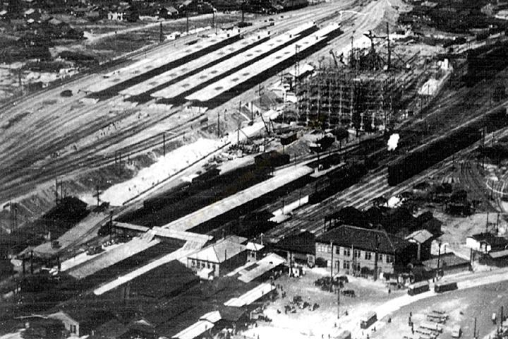 名古屋駅の笹島からの移転工事 昭和11年頃