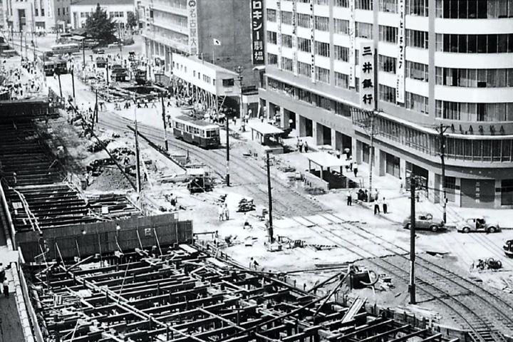 名古屋駅前の地下鉄工事(昭和32年完成)