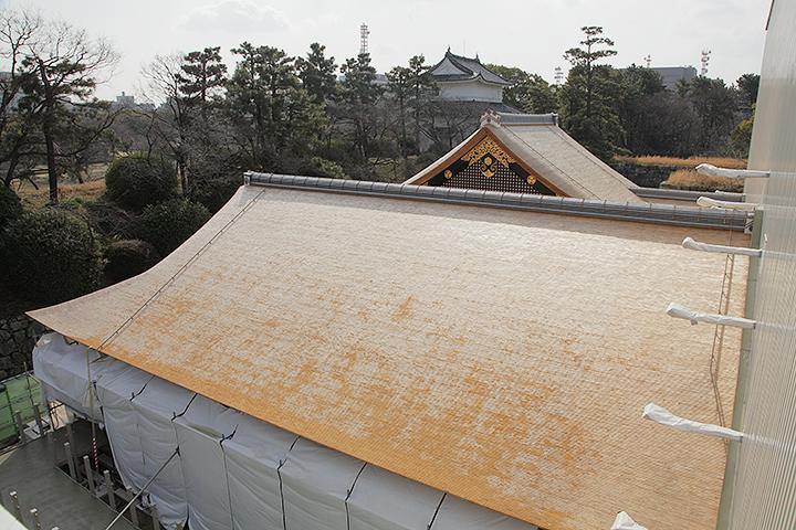 太陽光に反射して白く光るこけら葺きの屋根