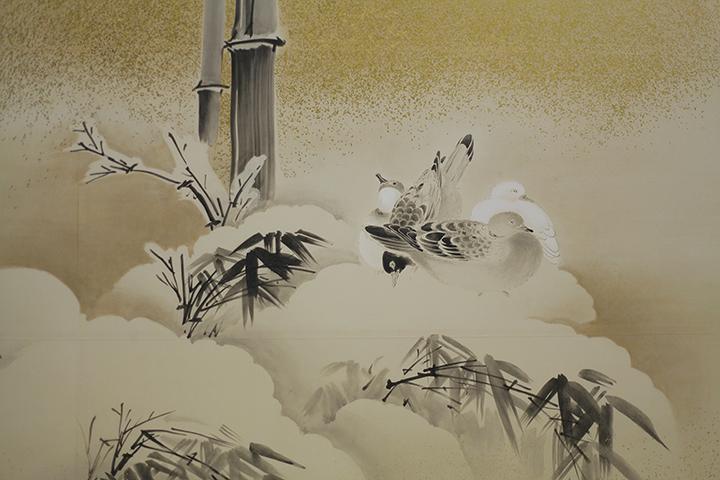 「雪中竹林鳩雀図」上洛殿三之間東側襖 復元模写