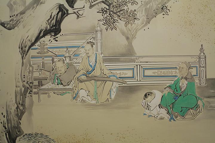 「琴棋書画図」上洛殿二之間西側襖 4面目 復元模写