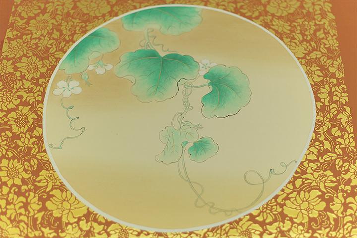「瓜花図」御湯殿書院上段之間天井板絵 復元模写