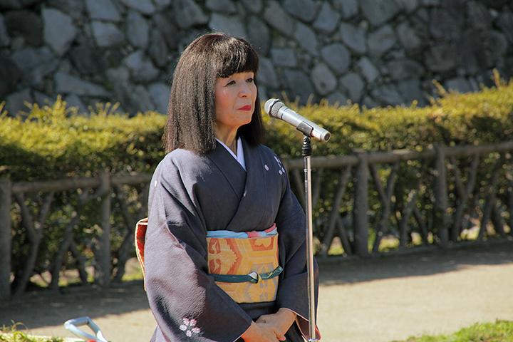 名古屋城文化フォーラム夢童由里子代表のあいさつ