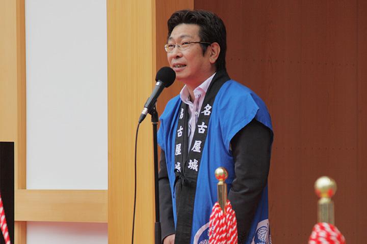 挨拶する藤田和秀名古屋市会議長