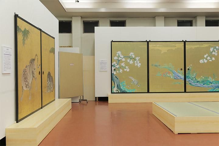 複写した竹林豹虎図と複写した桜花雉子図