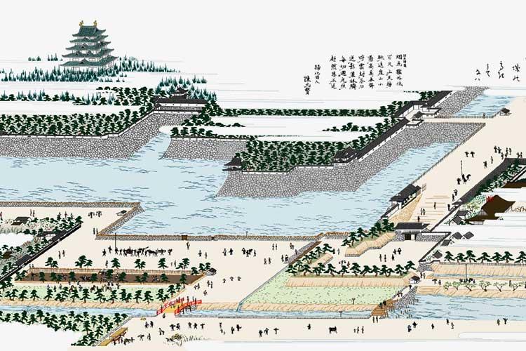 堀川朝日橋と名古屋城
