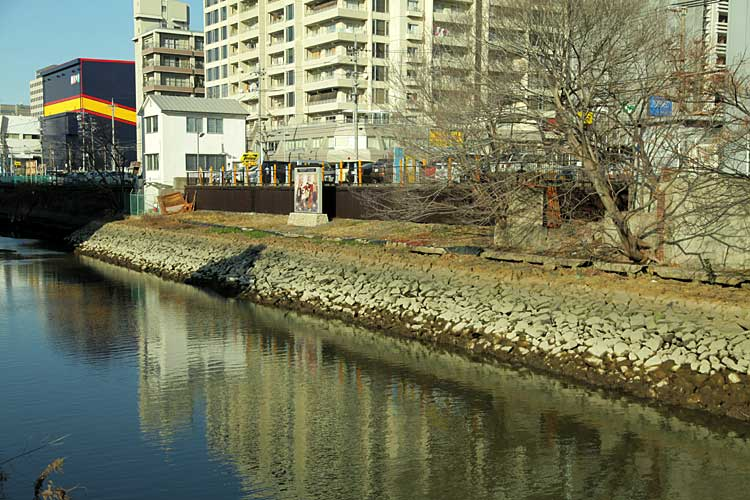 堀川左岸にあった、愛知県立医学専門学校跡(名古屋大学医学部前身)