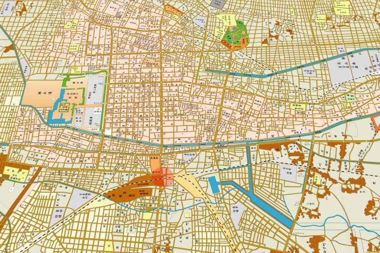 昭和時代(1926-1989)初頭の名古屋市街地図