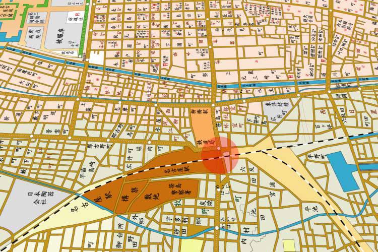 昭和時代(1926-1989)初頭の名古屋駅周辺地図
