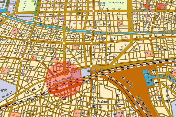 昭和33年(1958)の名古屋駅周辺地図