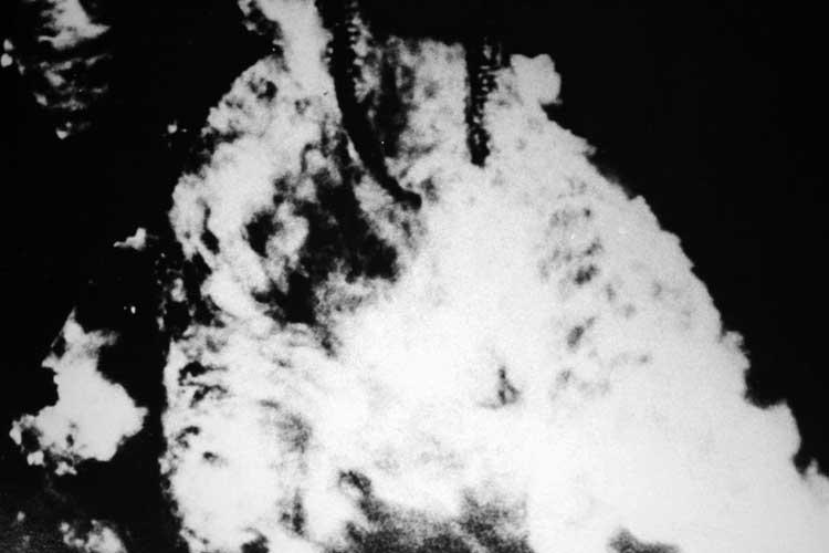 945年5月の空襲で焼失する名古屋城