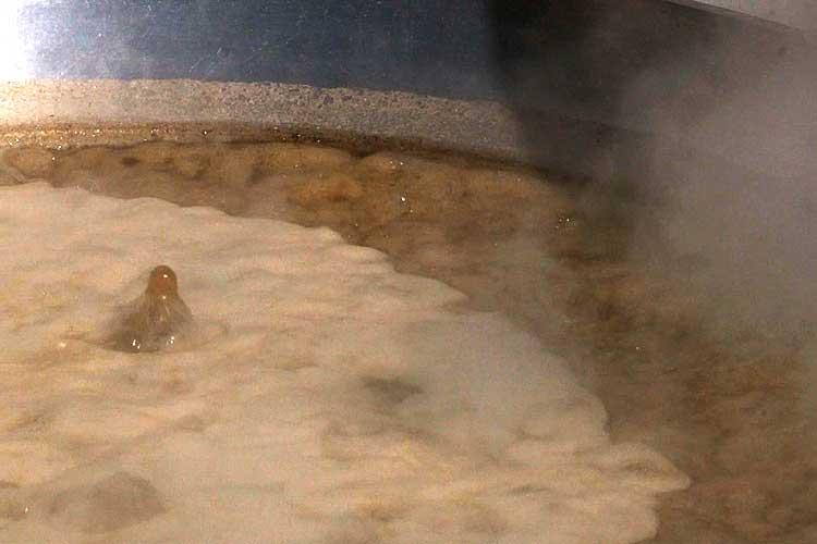 沸かした湯に角又(海草)を煮溶かす