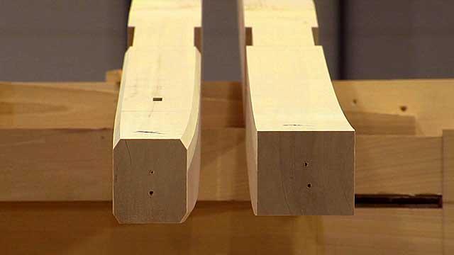 加工前と後の飛檐垂木(ひえんだるき)