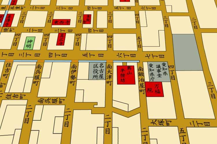 明治10年(1877)頃の栄町(現在の栄)周辺