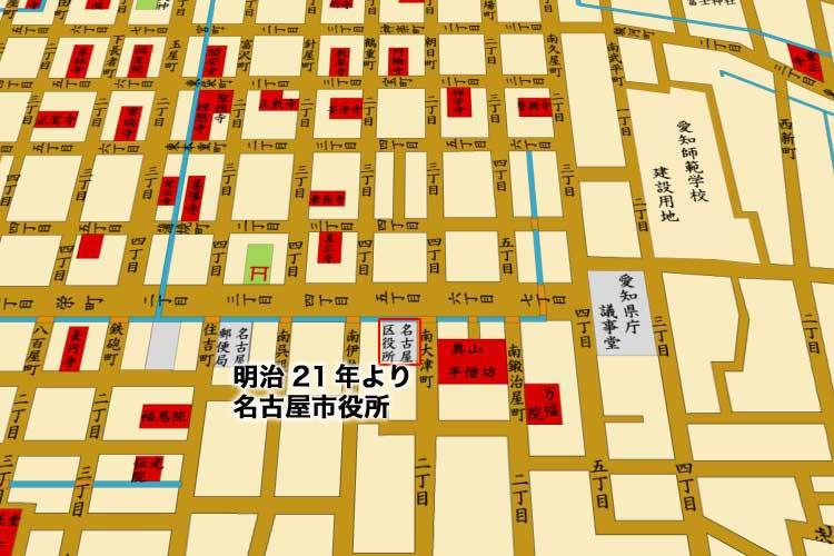 明治20年(1887)頃の栄町(現在の栄)周辺