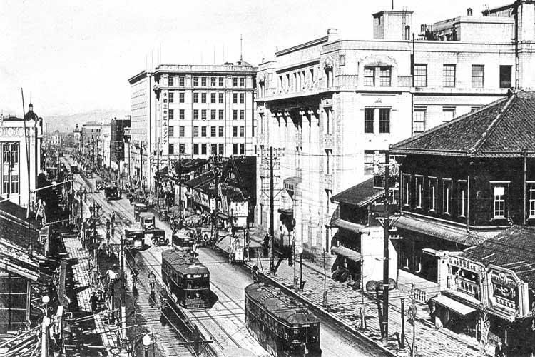 昭和初頭の広小路-村瀬銀行、名古屋銀行愛国生命ビル