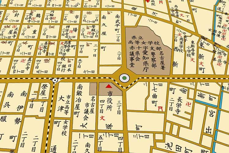 明治43年(1910)頃の栄町(現在の栄)周辺