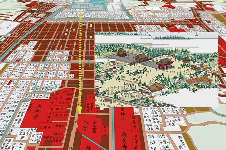名古屋城築城後の若宮八幡社位置