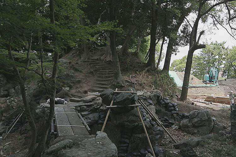 名勝 二之丸庭園保存復元工事現場