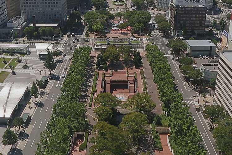 テレビ塔から見たもちの木広場