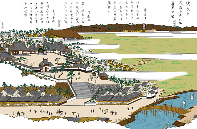 扇川と瑞泉寺(鳴海宿)