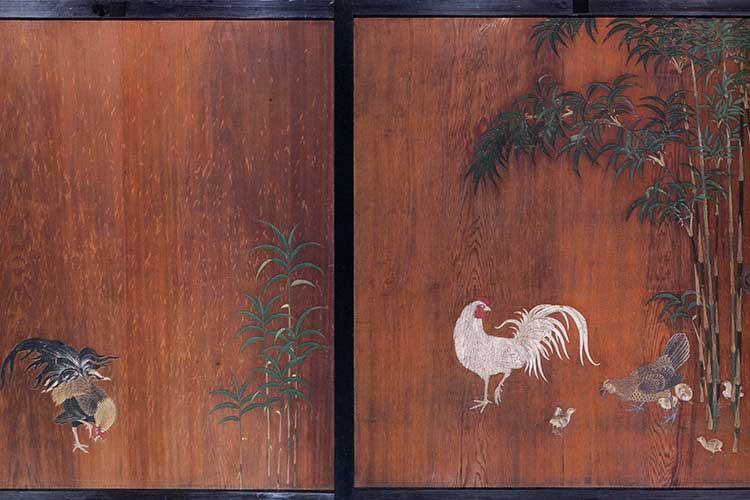 対面所竹鶏図