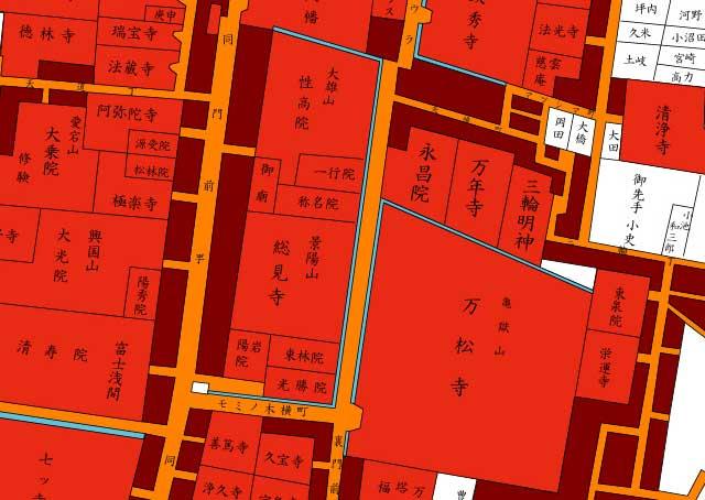 江戸時代地図(大須裏」門前町周辺)