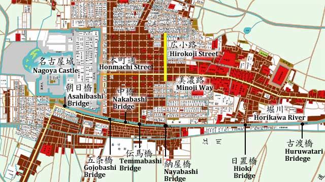 江戸時代地図(堀川) 古渡橋~朝日橋(名古屋城)