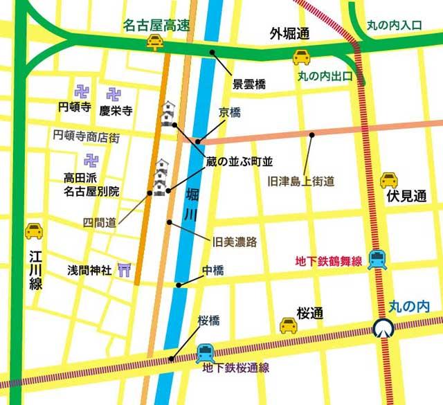 現在の四間道と円頓寺周辺