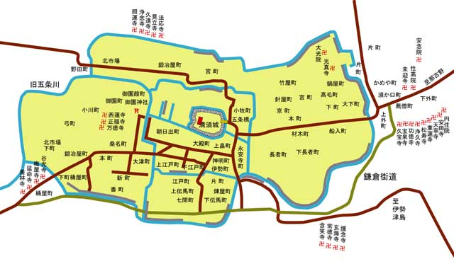 清洲越前の城下図
