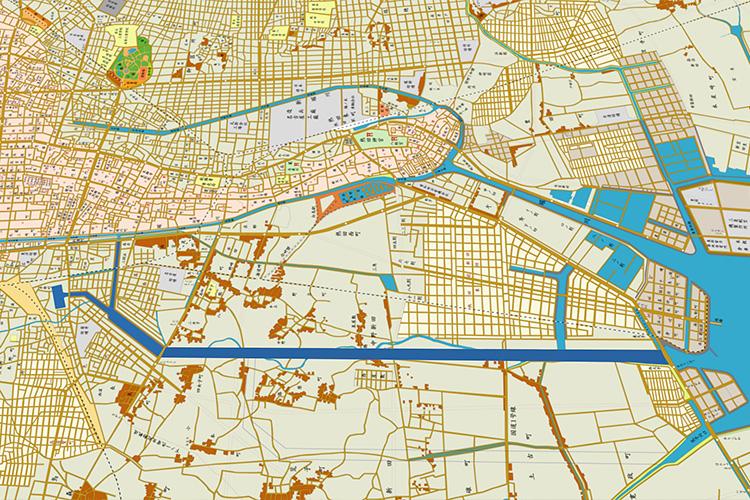 開設当時の中川運河地図