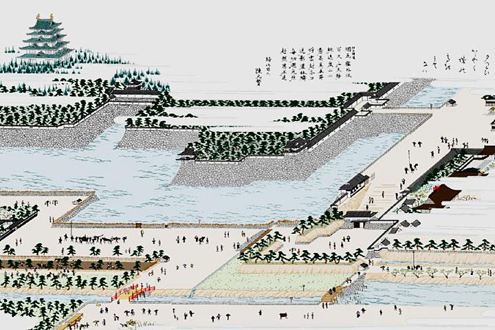 名古屋城と堀川 朝日橋付近(尾張名所図会)