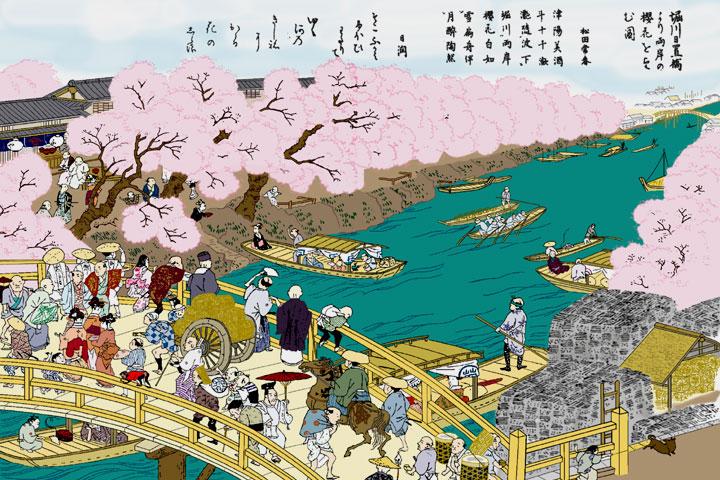 日置橋の桜見物(尾張名所図会)