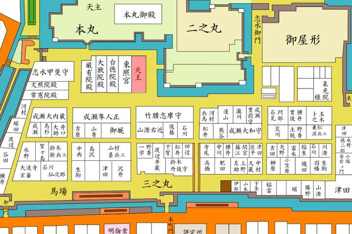 江戸時代の名古屋城三の丸 赤の所が天王社