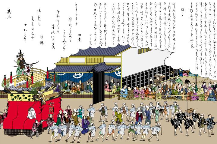 東照宮祭 七間町 橋弁慶車(尾張名所図会イメージ着色)
