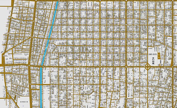 名古屋市居住者全図(昭和8年)。分割されている地図を張り合わせて合成したもの。