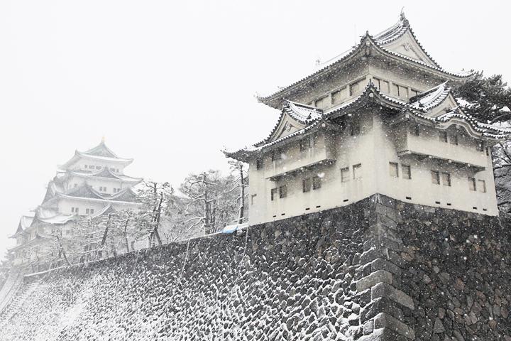 雪の名古屋城(撮影:2011年1月16日)