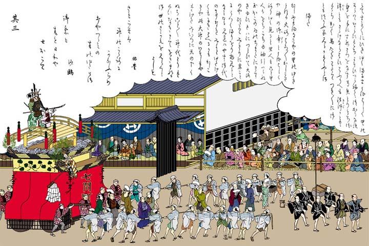 名古屋まつり 七間町の弁慶車 -尾張名所図会(イメージ着色)