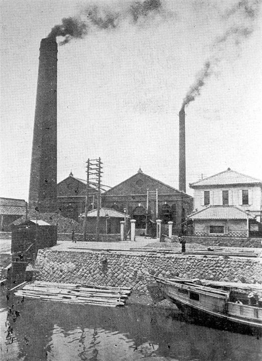 明治34年(1901)に建設された水主町(かこまち)火力発電所 (現在の名古屋市中村区名駅3-1601)