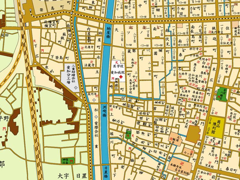 明治43年の洲崎橋周辺地図