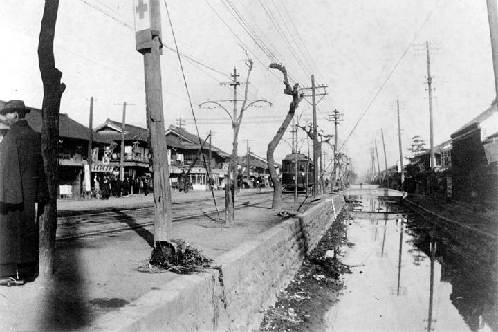 江川と市電江川線(大正時代)