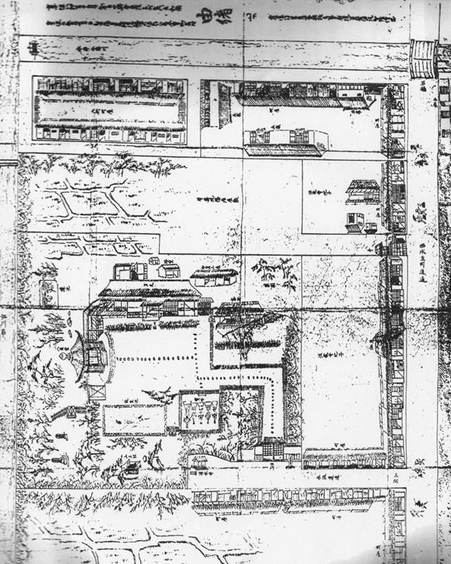 江戸時代、八角堂法蔵寺境内の図面(資料提供:八角堂法蔵寺)