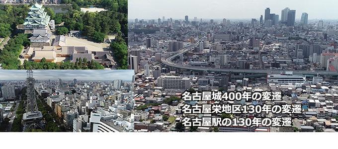 名古屋城400年・栄・名古屋駅130年の変遷